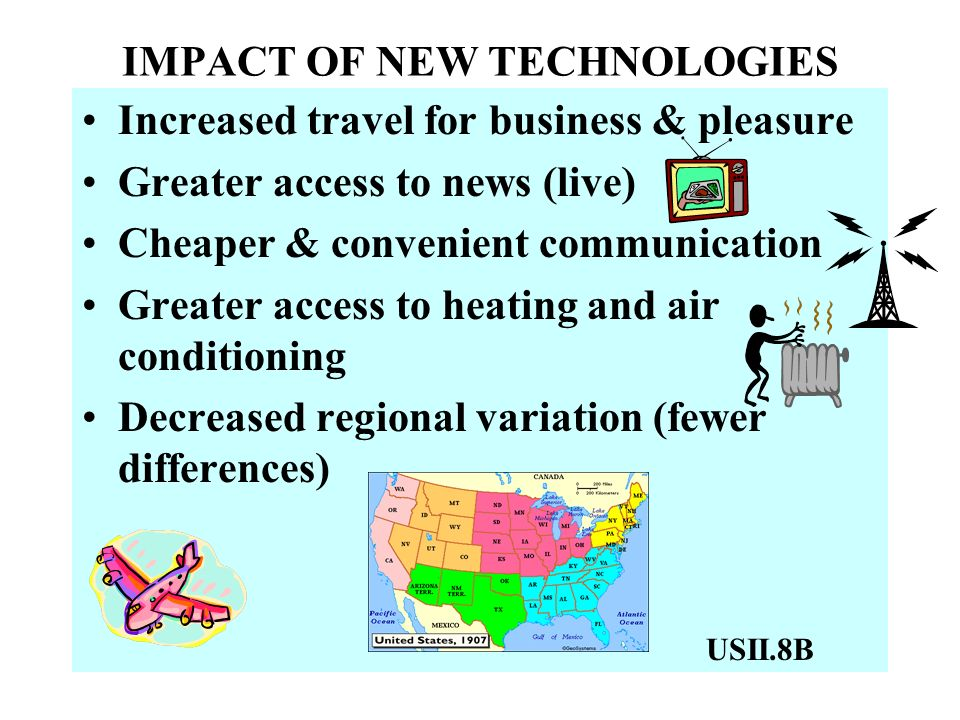 IMPACT OF NEW TECHNOLOGIES Increased travel for business & pleasure Greater access to news (live) Cheaper & convenient communication Greater access to heating and air conditioning Decreased regional variation (fewer differences) USII.8B
