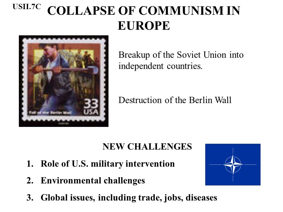 COLLAPSE OF COMMUNISM IN EUROPE Breakup of the Soviet Union into independent countries.