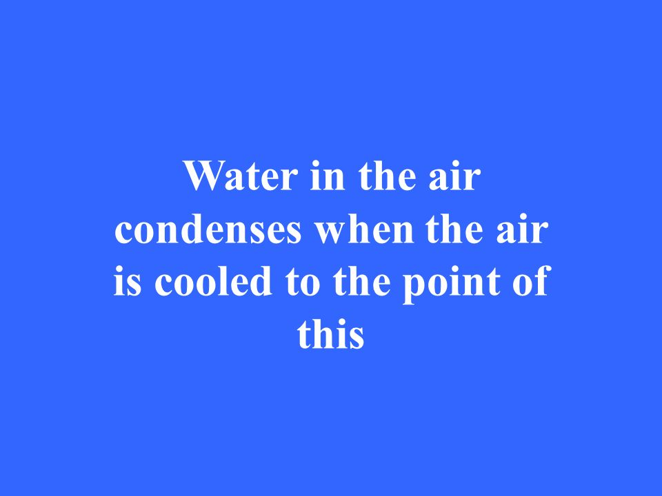 Water in the air condenses when the air is cooled to the point of this