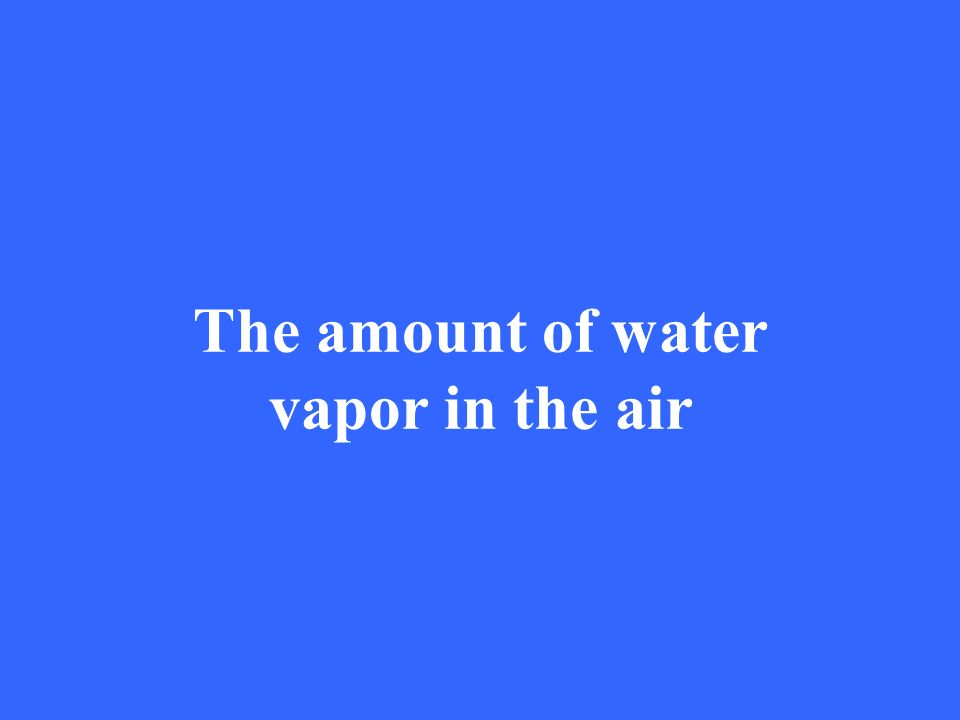 The amount of water vapor in the air