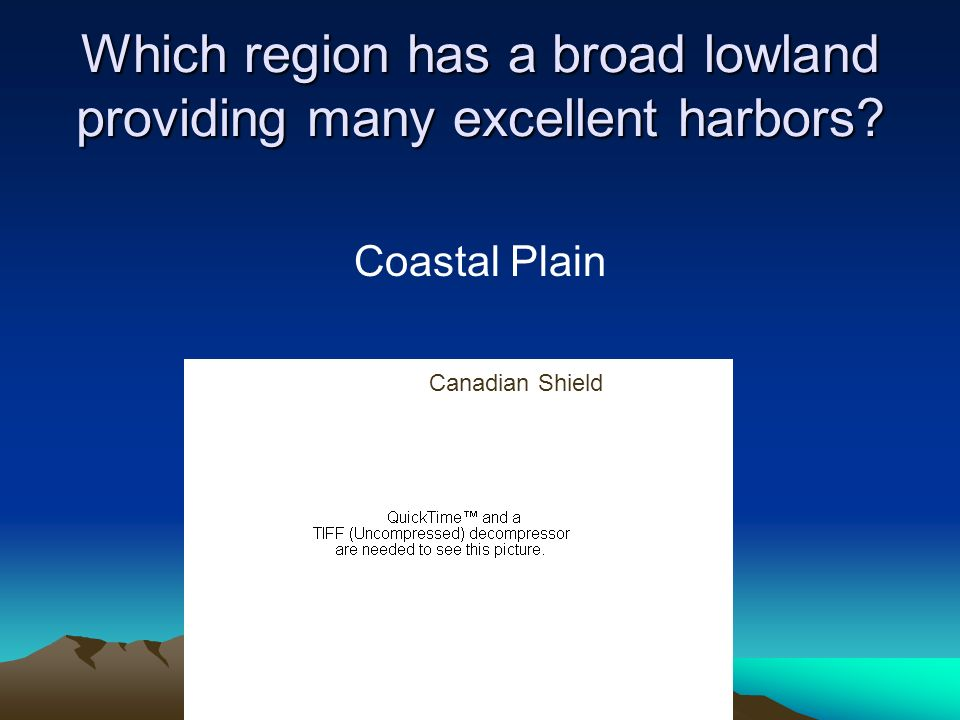 Which region has a broad lowland providing many excellent harbors? Coastal Plain Canadian Shield