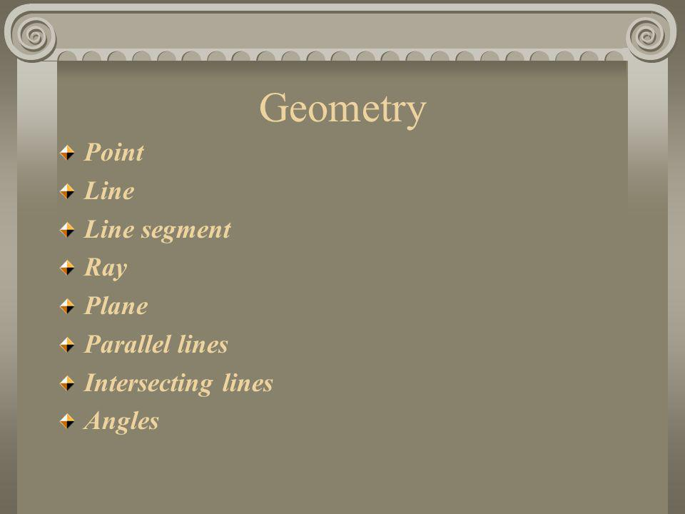 Geometry Point Line Line segment Ray Plane Parallel lines Intersecting lines Angles