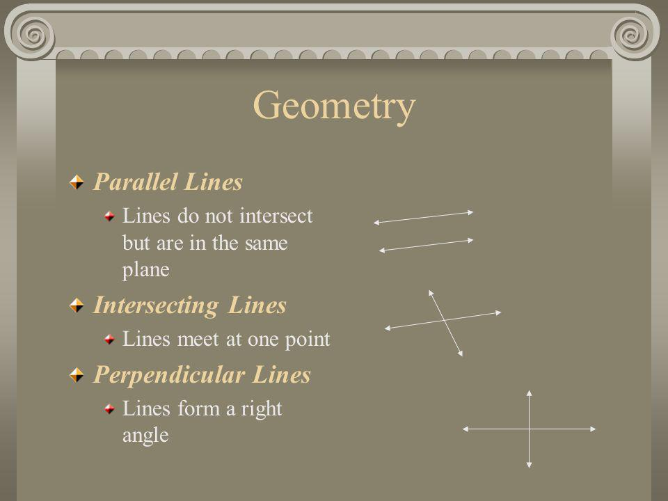 Geometry Parallel Lines Lines do not intersect but are in the same plane Intersecting Lines Lines meet at one point Perpendicular Lines Lines form a r