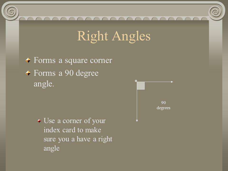 Right Angles Forms a square corner Forms a 90 degree angle. Use a corner of your index card to make sure you a have a right angle 90 degrees