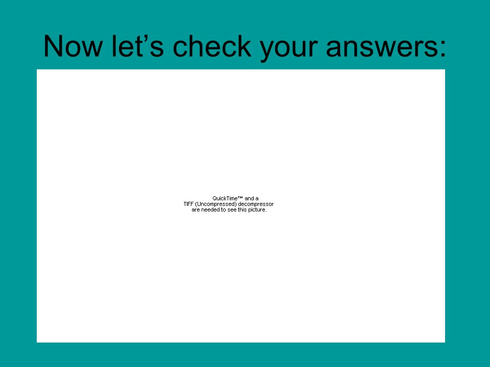 Now lets check your answers: