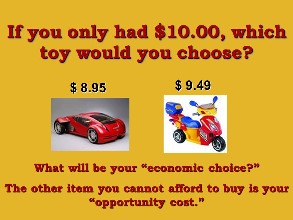 If you only had $10.00, which toy would you choose? $ 8.95 $ 9.49 What will be your economic choice? The other item you cannot afford to buy is your o
