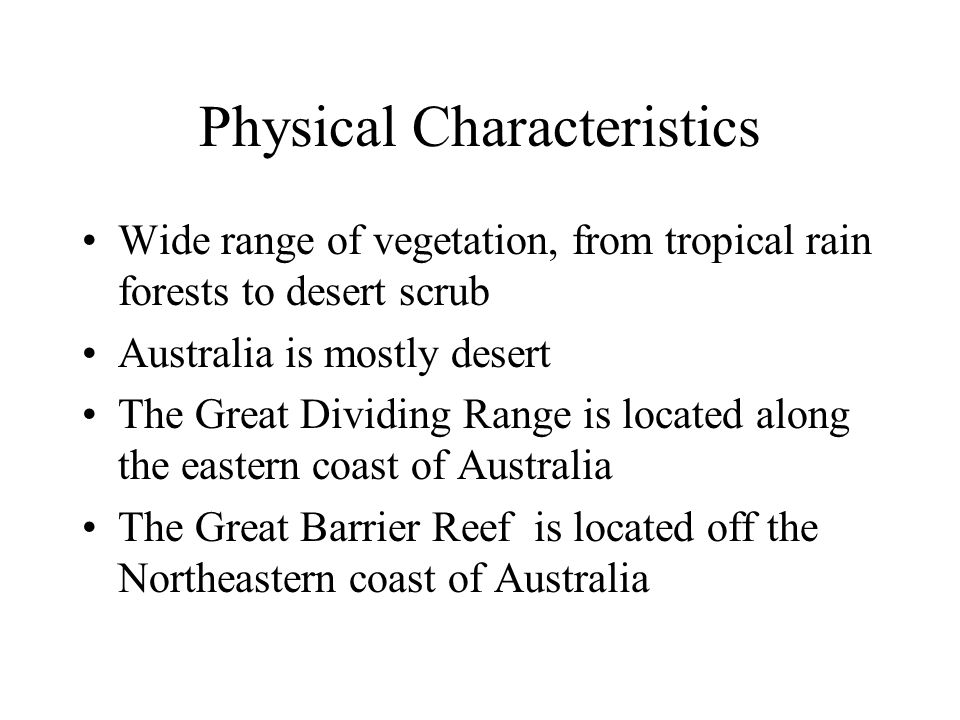 Physical characteristics cont.