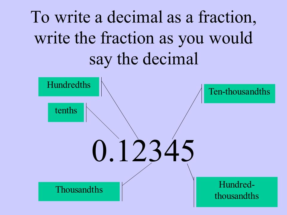 To write a decimal as a fraction, write the fraction as you would say the decimal 0.12345 tenths Hundredths Thousandths Ten-thousandths Hundred- thous