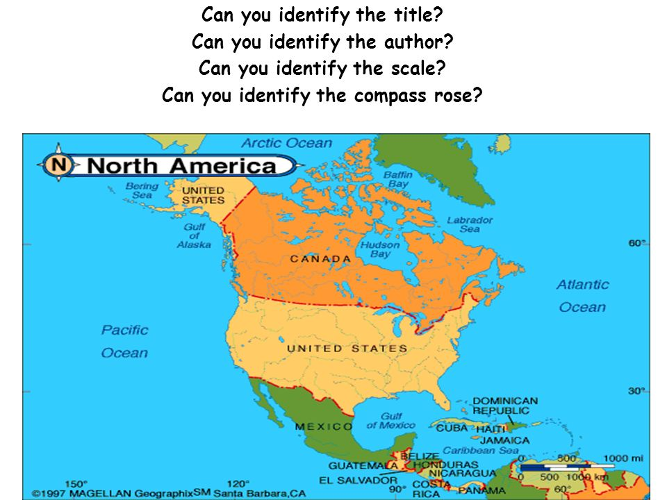 Lets Learn about Map Elements North America Washington DC and