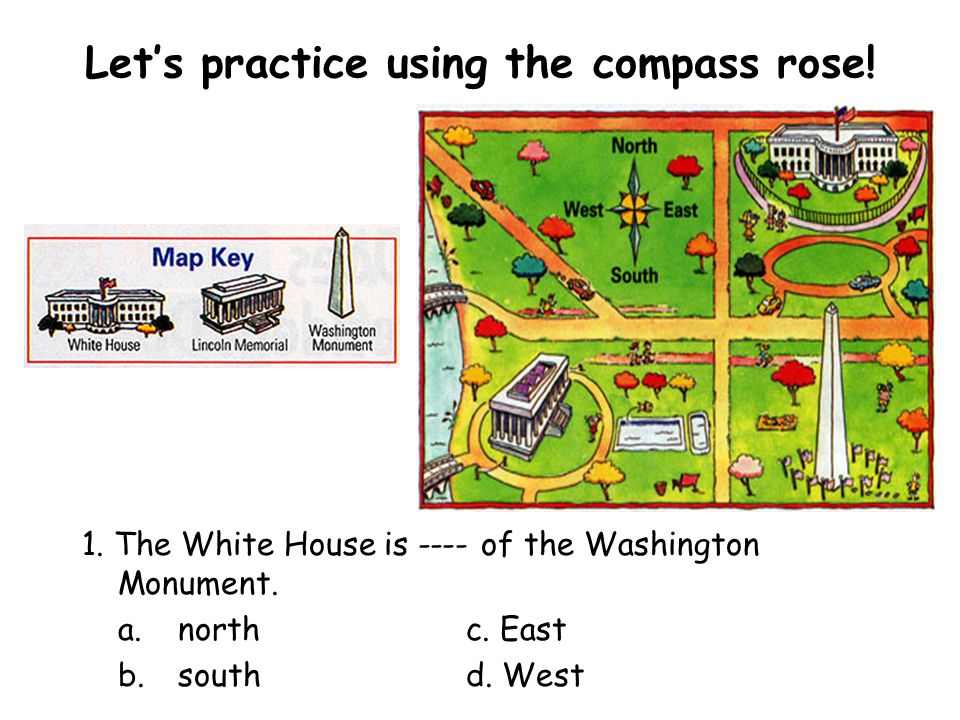 Lets practice using the compass rose. 1. The White House is ---- of the Washington Monument.