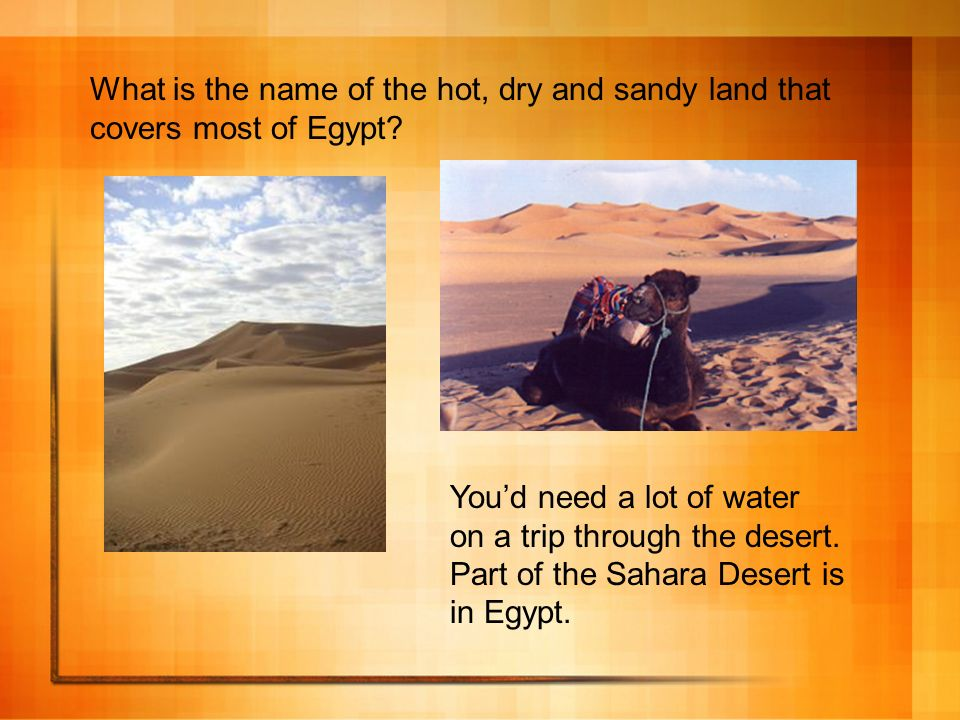 What is the name of the hot, dry and sandy land that covers most of Egypt? Youd need a lot of water on a trip through the desert. Part of the Sahara D