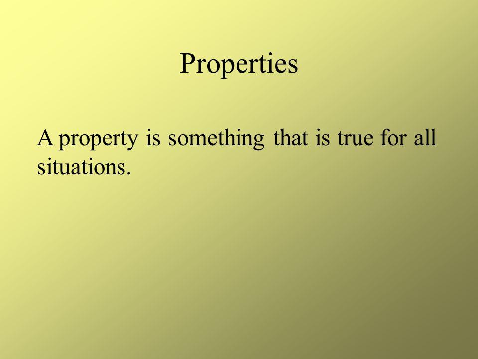 Four Properties 1.Distributive 2.Commutative 3.Associative 4.Identity properties of one and zero