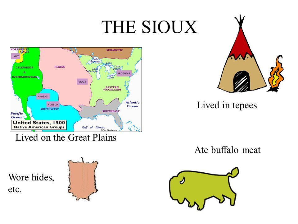 THE SIOUX Lived on the Great Plains Wore hides, etc. Lived in tepees Ate buffalo meat