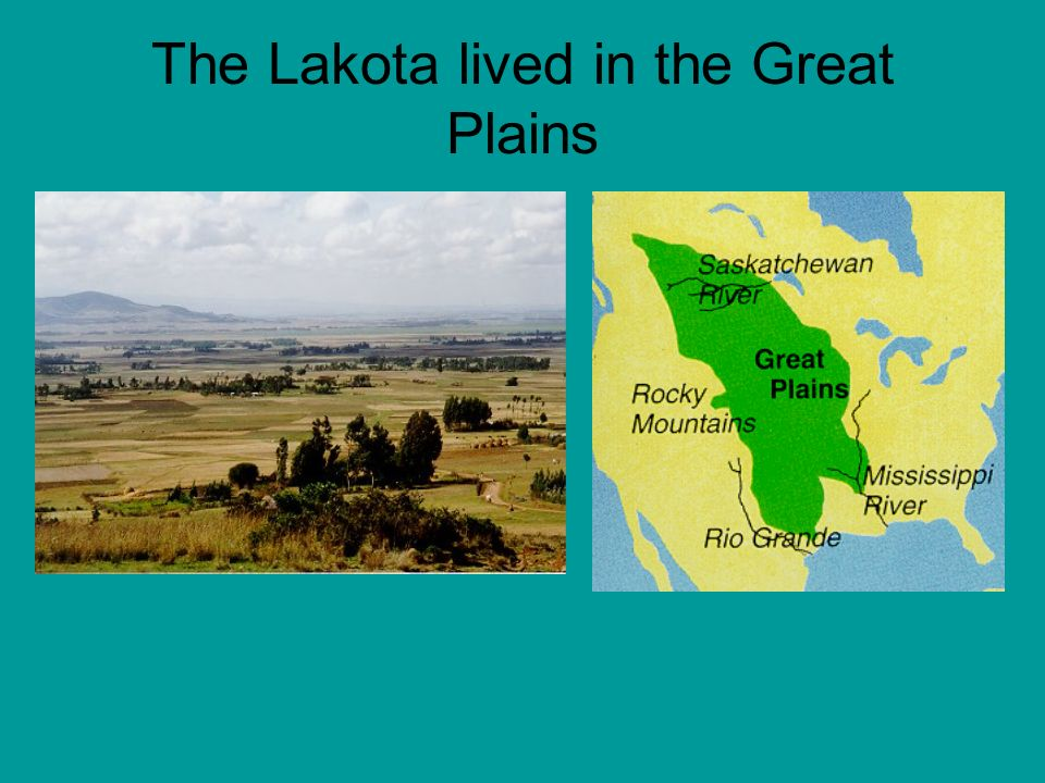 The Lakotas land in the Plains was made up of plains, prairies, and rolling hills.