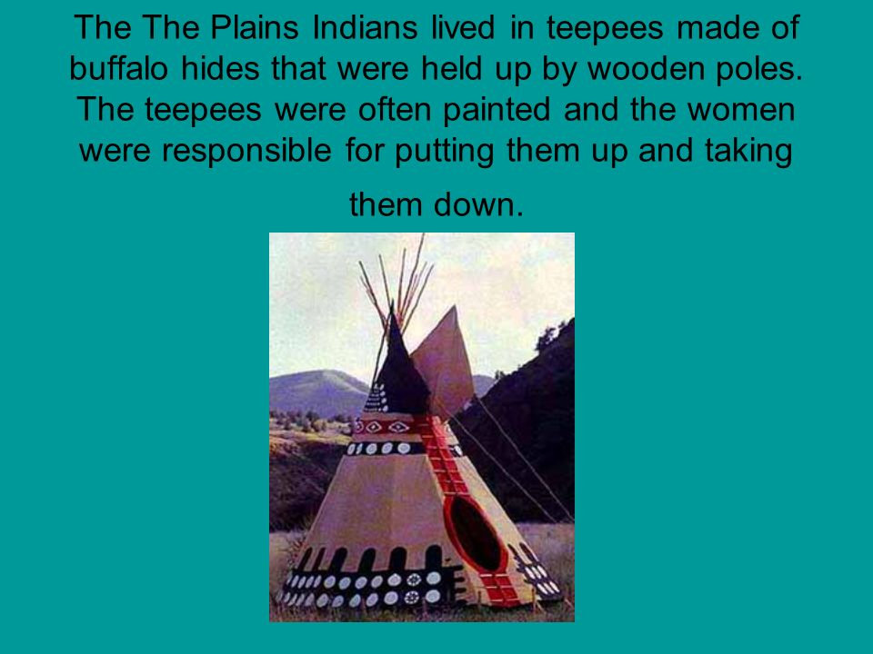 The The Plains Indians lived in teepees made of buffalo hides that were held up by wooden poles. The teepees were often painted and the women were res