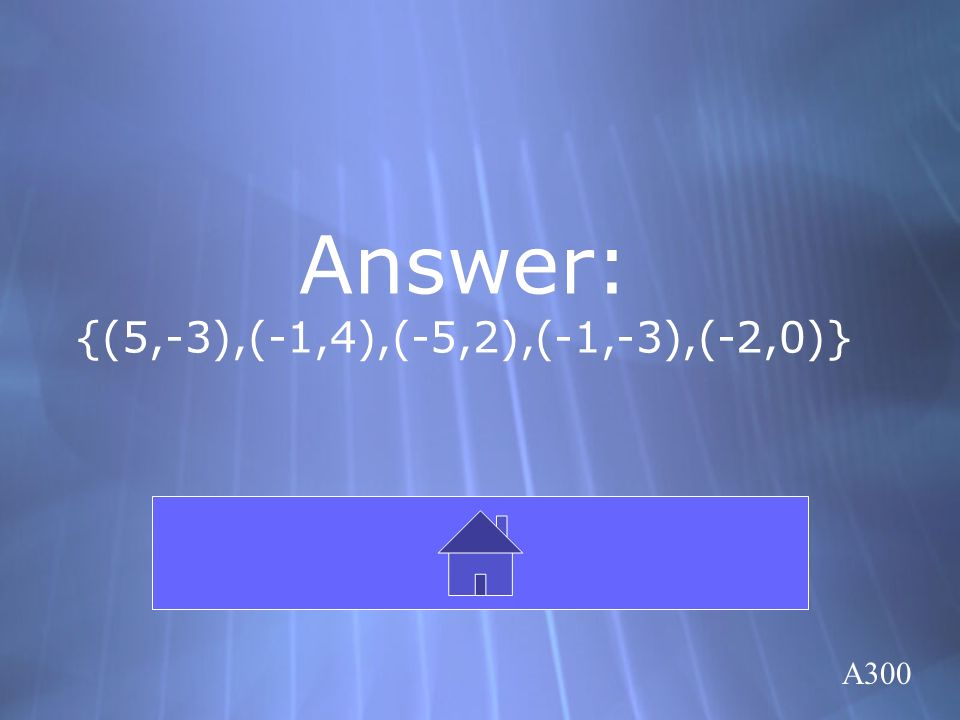 Answer: {(5,-3),(-1,4),(-5,2),(-1,-3),(-2,0)} Click here to return to the Board A300