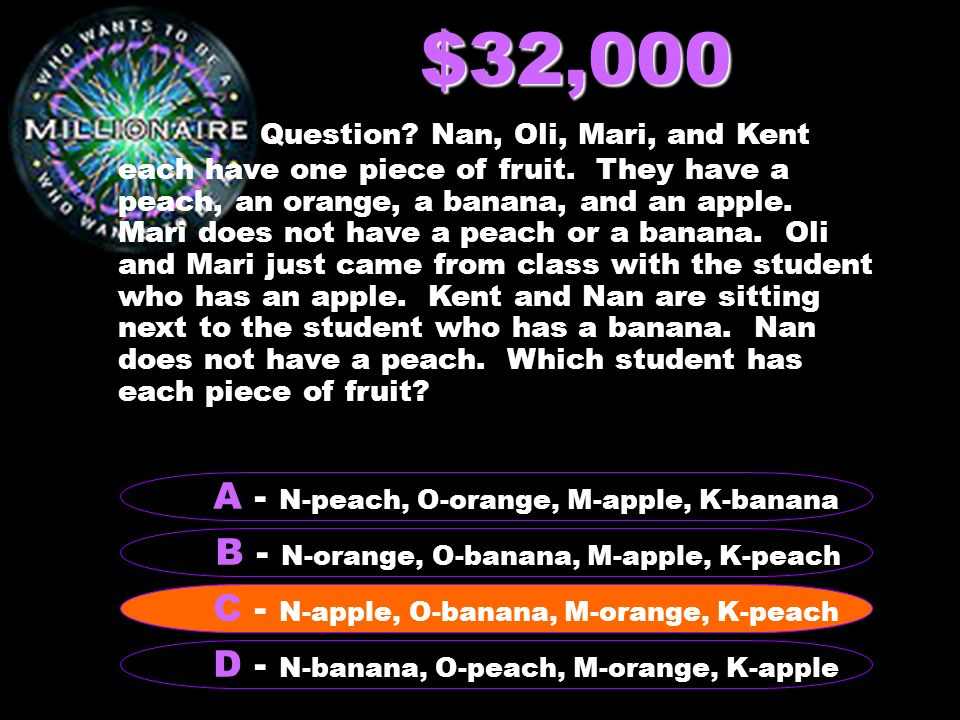 $32,000 Question? Nan, Oli, Mari, and Kent each have one piece of fruit. They have a peach, an orange, a banana, and an apple. Mari does not have a pe