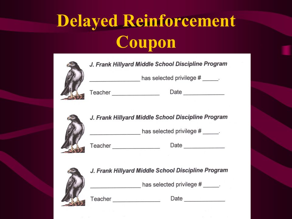 Delayed Reinforcement Coupon