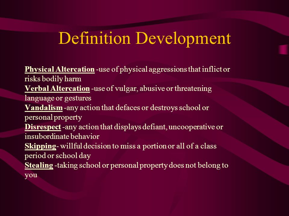 Definition Development Physical Altercation -use of physical aggressions that inflict or risks bodily harm Verbal Altercation -use of vulgar, abusive