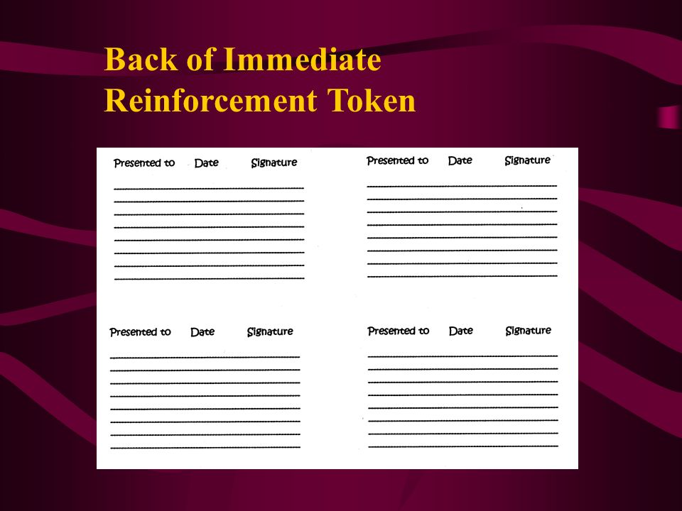 Back of Immediate Reinforcement Token