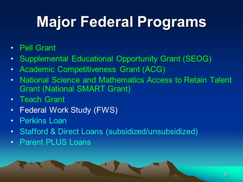 12 Major Federal Programs Pell Grant Supplemental Educational Opportunity Grant (SEOG) Academic Competitiveness Grant (ACG) National Science and Mathe