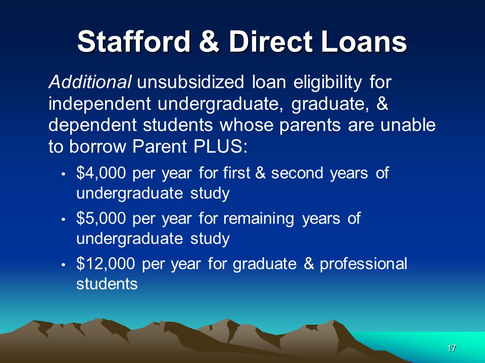 17 Stafford & Direct Loans Additional unsubsidized loan eligibility for independent undergraduate, graduate, & dependent students whose parents are unable to borrow Parent PLUS: $4,000 per year for first & second years of undergraduate study $5,000 per year for remaining years of undergraduate study $12,000 per year for graduate & professional students