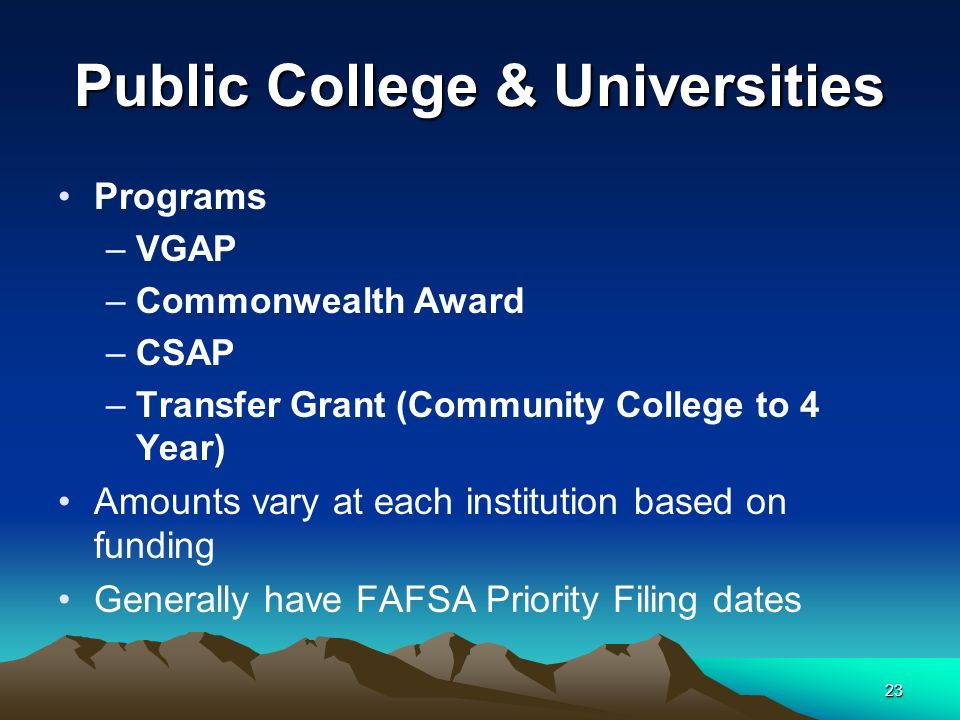 23 Public College & Universities Programs –VGAP –Commonwealth Award –CSAP –Transfer Grant (Community College to 4 Year) Amounts vary at each institution based on funding Generally have FAFSA Priority Filing dates
