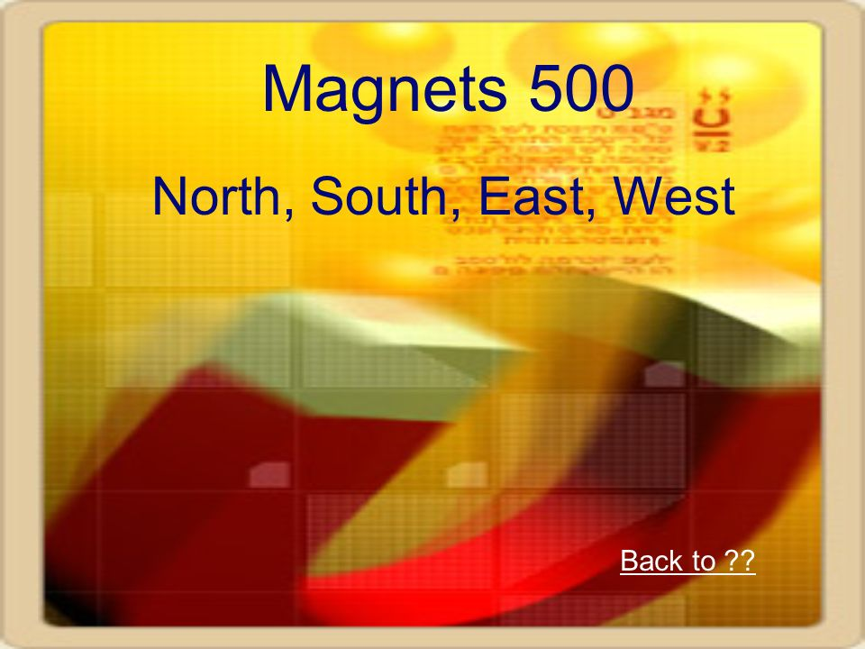 Magnets 500 North, South, East, West Back to