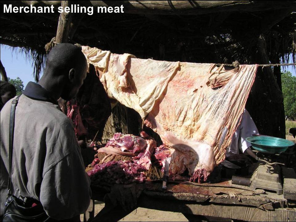 Merchant selling meat