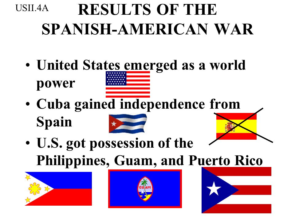 RESULTS OF THE SPANISH-AMERICAN WAR United States emerged as a world power Cuba gained independence from Spain U.S. got possession of the Philippines,
