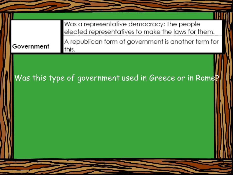 Was this type of government used in Greece or in Rome
