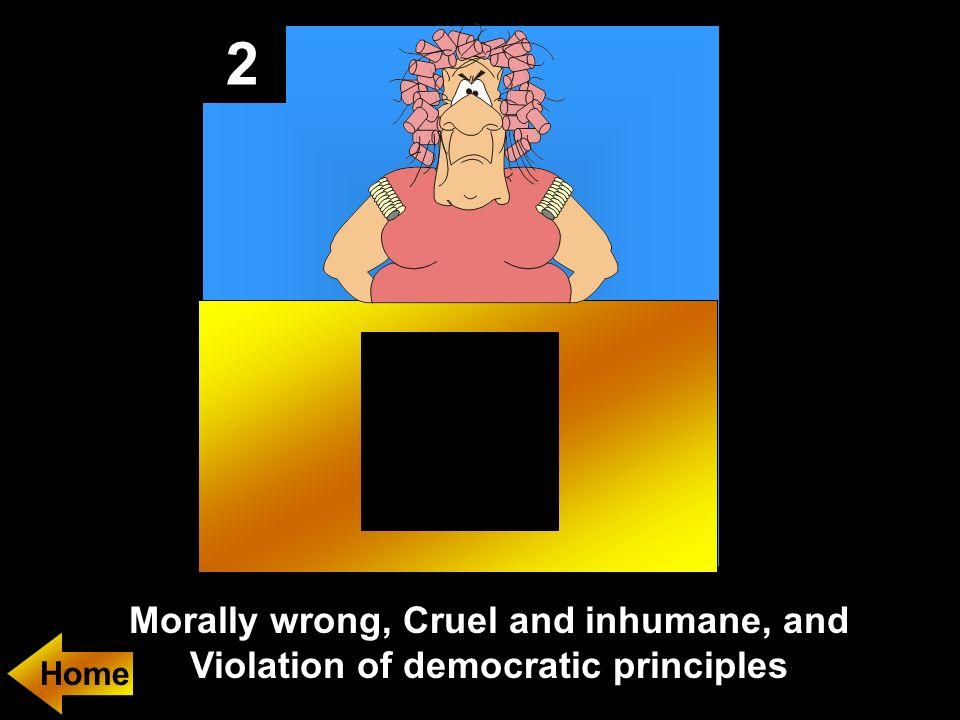 2 Morally wrong, Cruel and inhumane, and Violation of democratic principles