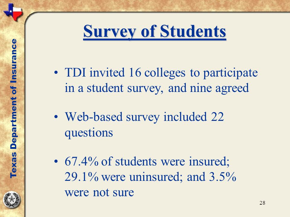 28 Survey of Students TDI invited 16 colleges to participate in a student survey, and nine agreed Web-based survey included 22 questions 67.4% of students were insured; 29.1% were uninsured; and 3.5% were not sure Texas Department of Insurance