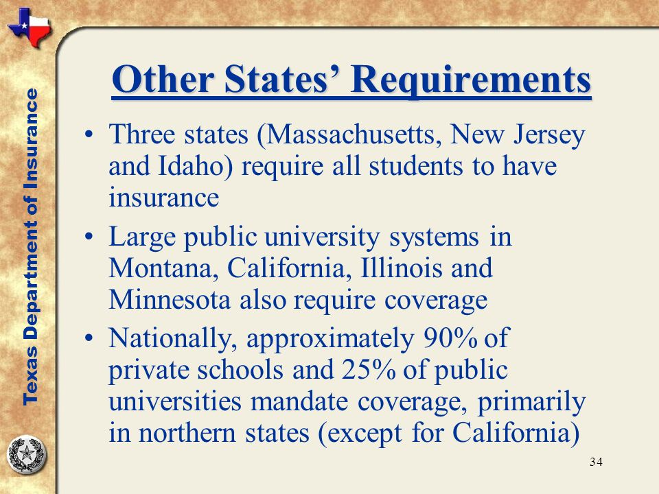 34 Other States Requirements Three states (Massachusetts, New Jersey and Idaho) require all students to have insurance Large public university systems