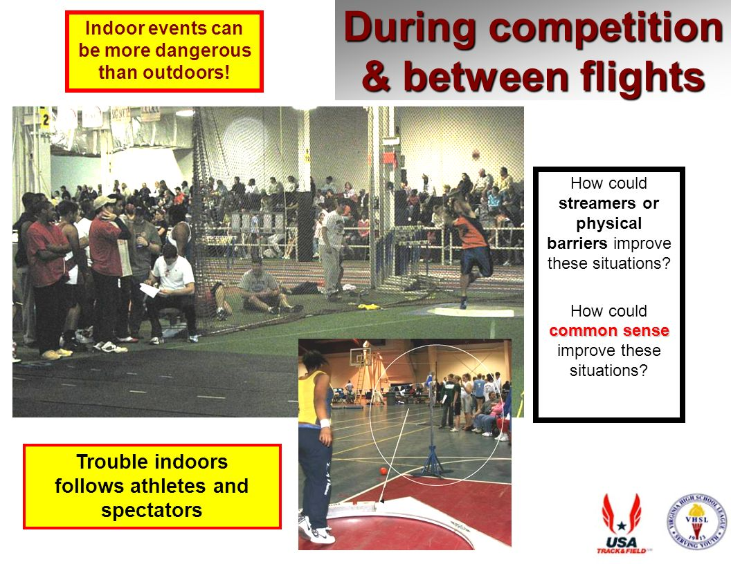 During competition & between flights Trouble indoors follows athletes and spectators How could streamers or physical barriers improve these situations.