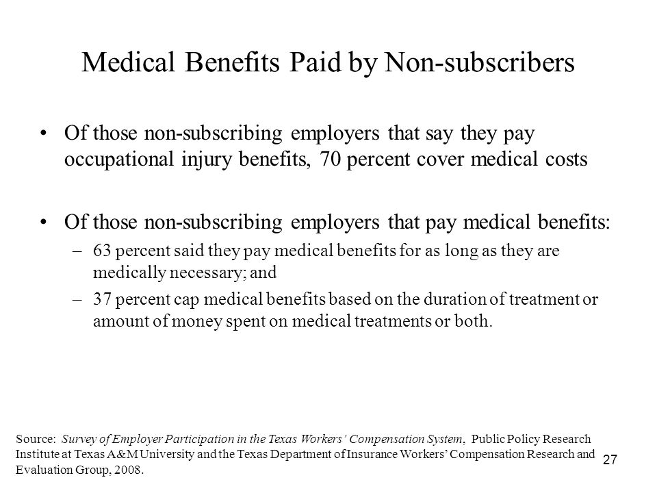 27 Medical Benefits Paid by Non-subscribers Of those non-subscribing employers that say they pay occupational injury benefits, 70 percent cover medical costs Of those non-subscribing employers that pay medical benefits: –63 percent said they pay medical benefits for as long as they are medically necessary; and –37 percent cap medical benefits based on the duration of treatment or amount of money spent on medical treatments or both.