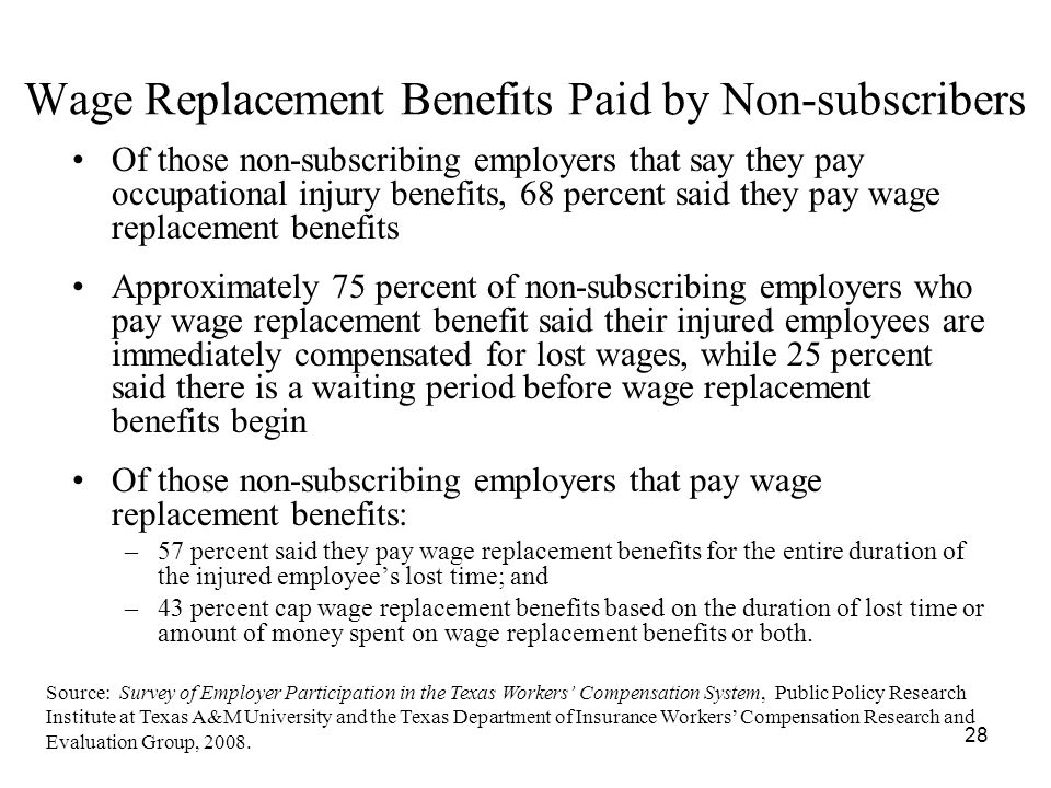 28 Wage Replacement Benefits Paid by Non-subscribers Of those non-subscribing employers that say they pay occupational injury benefits, 68 percent said they pay wage replacement benefits Approximately 75 percent of non-subscribing employers who pay wage replacement benefit said their injured employees are immediately compensated for lost wages, while 25 percent said there is a waiting period before wage replacement benefits begin Of those non-subscribing employers that pay wage replacement benefits: –57 percent said they pay wage replacement benefits for the entire duration of the injured employees lost time; and –43 percent cap wage replacement benefits based on the duration of lost time or amount of money spent on wage replacement benefits or both.