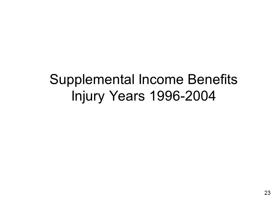 23 Supplemental Income Benefits Injury Years 1996-2004
