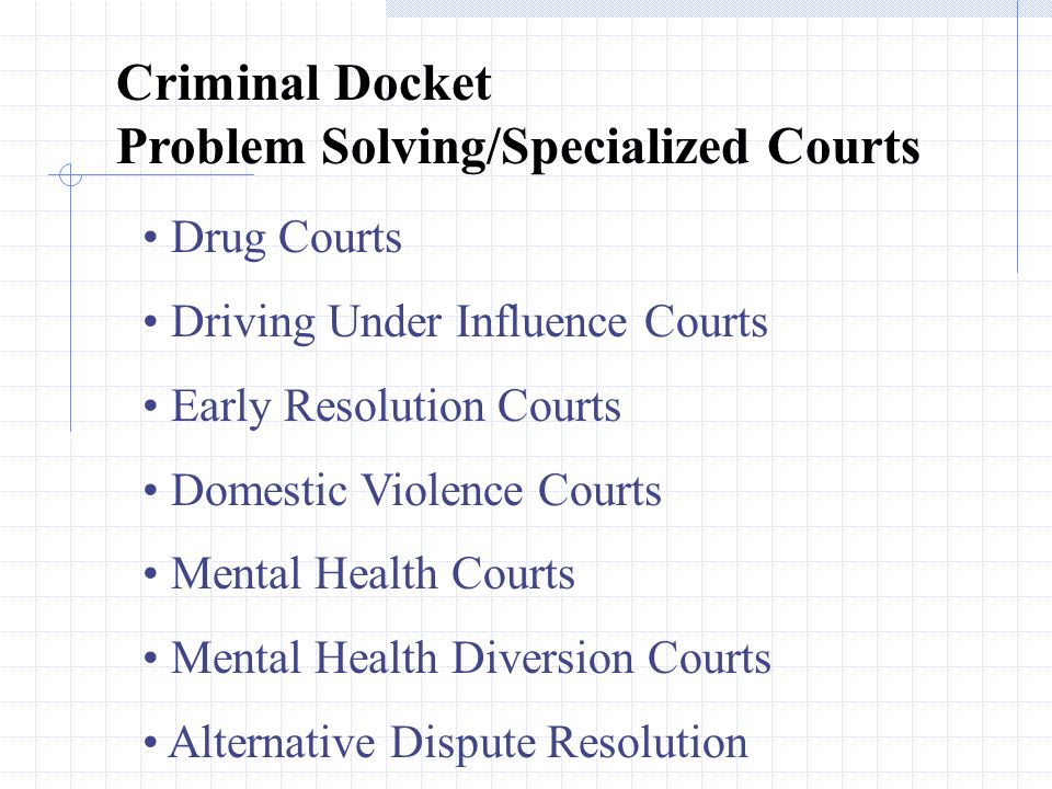 Criminal Docket Problem Solving/Specialized Courts Drug Courts Driving Under Influence Courts Early Resolution Courts Domestic Violence Courts Mental