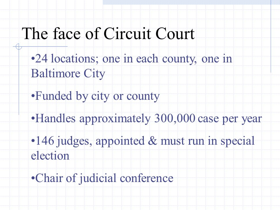 The face of Circuit Court 24 locations; one in each county, one in Baltimore City Funded by city or county Handles approximately 300,000 case per year 146 judges, appointed & must run in special election Chair of judicial conference