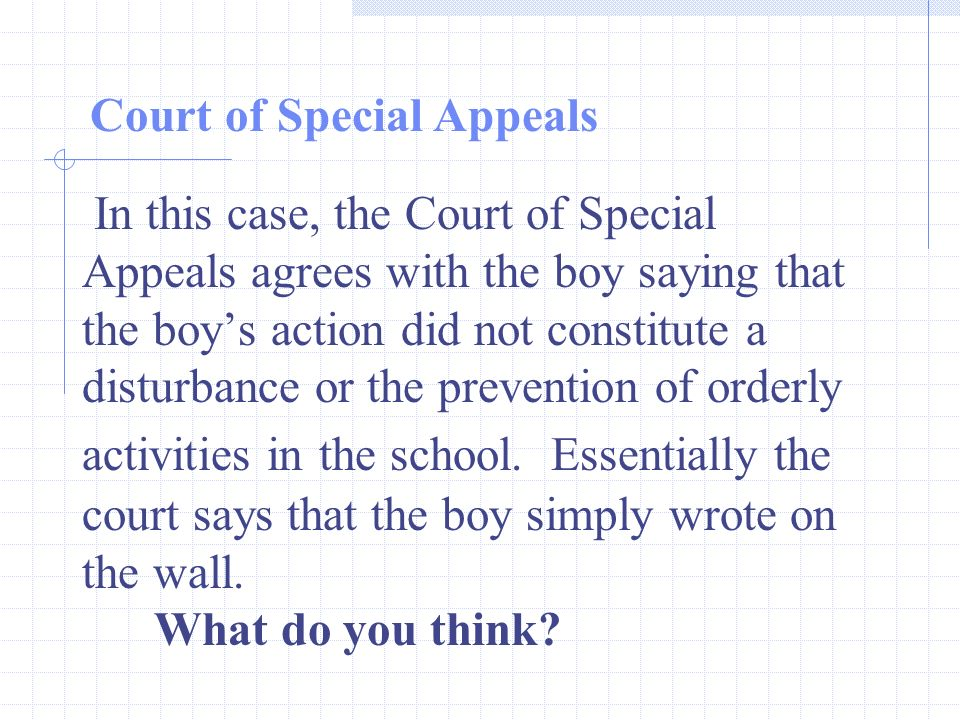 In this case, the Court of Special Appeals agrees with the boy saying that the boys action did not constitute a disturbance or the prevention of orderly activities in the school.