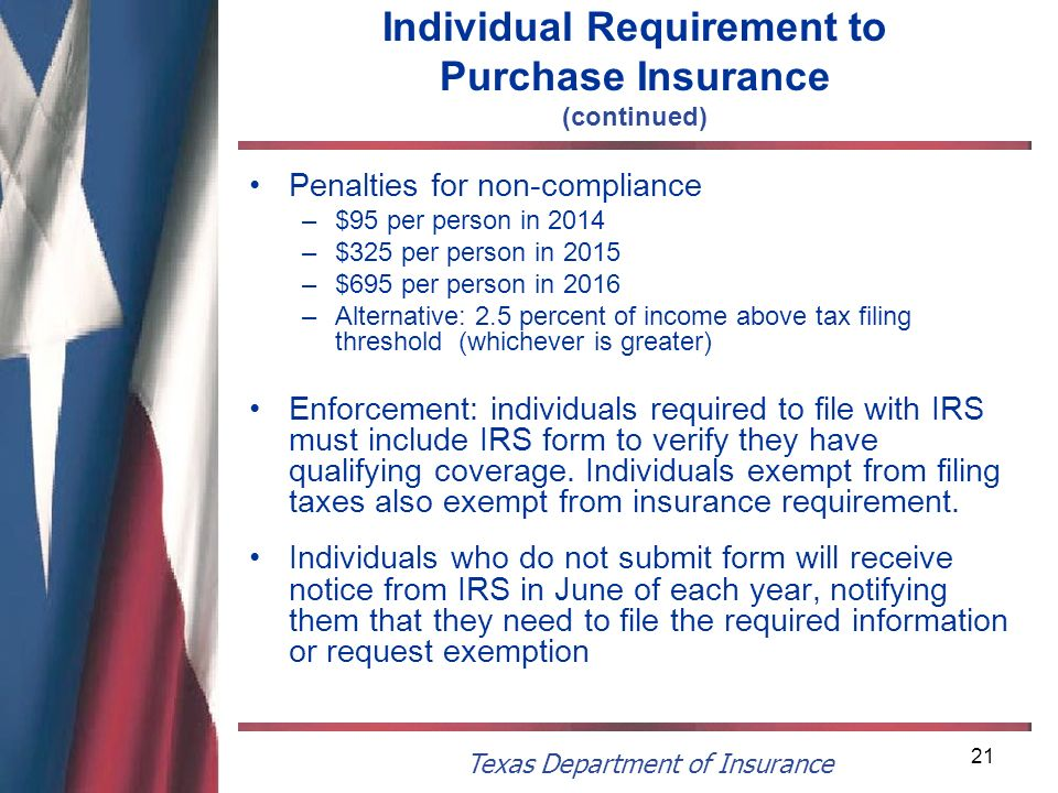 Texas Department of Insurance 21 Individual Requirement to Purchase Insurance (continued) Penalties for non-compliance –$95 per person in 2014 –$325 p