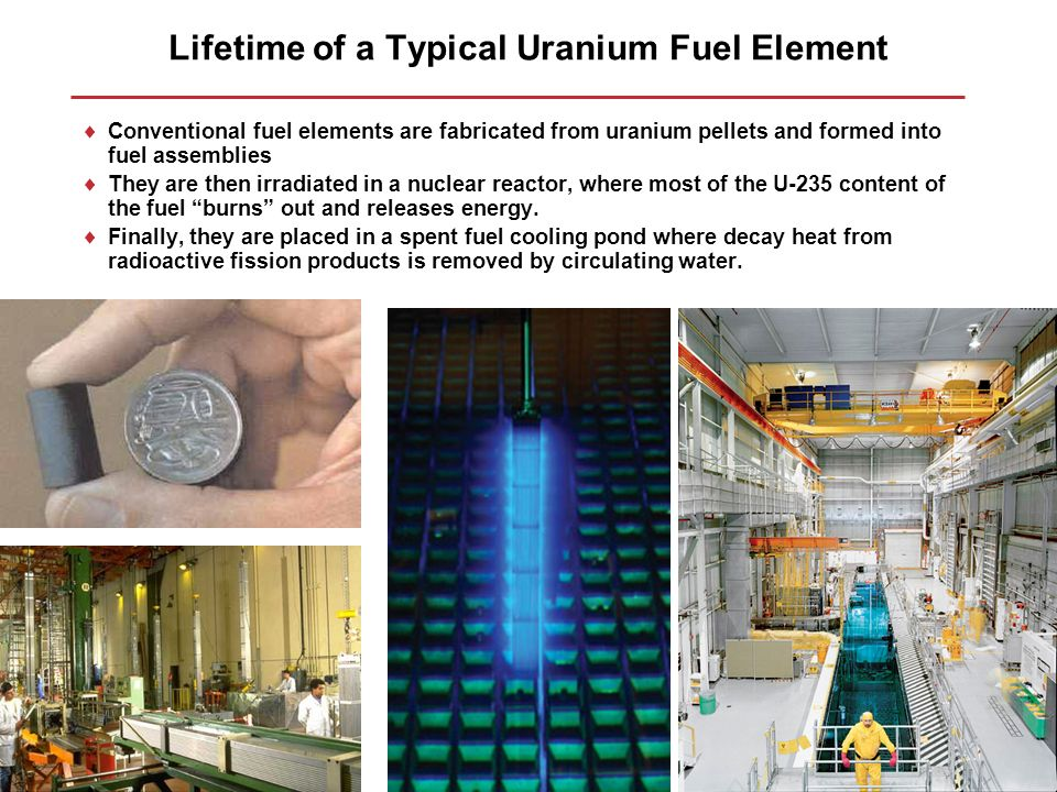 Lifetime of a Typical Uranium Fuel Element Conventional fuel elements are fabricated from uranium pellets and formed into fuel assemblies They are the