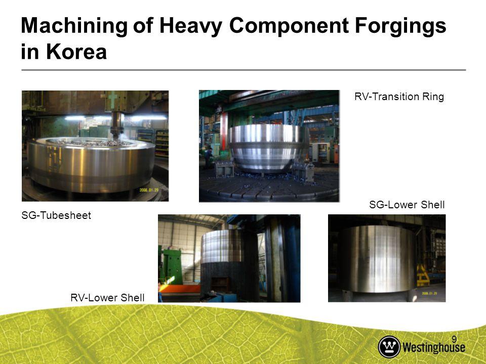 9 Machining of Heavy Component Forgings in Korea SG-Tubesheet RV-Transition Ring RV-Lower Shell SG-Lower Shell