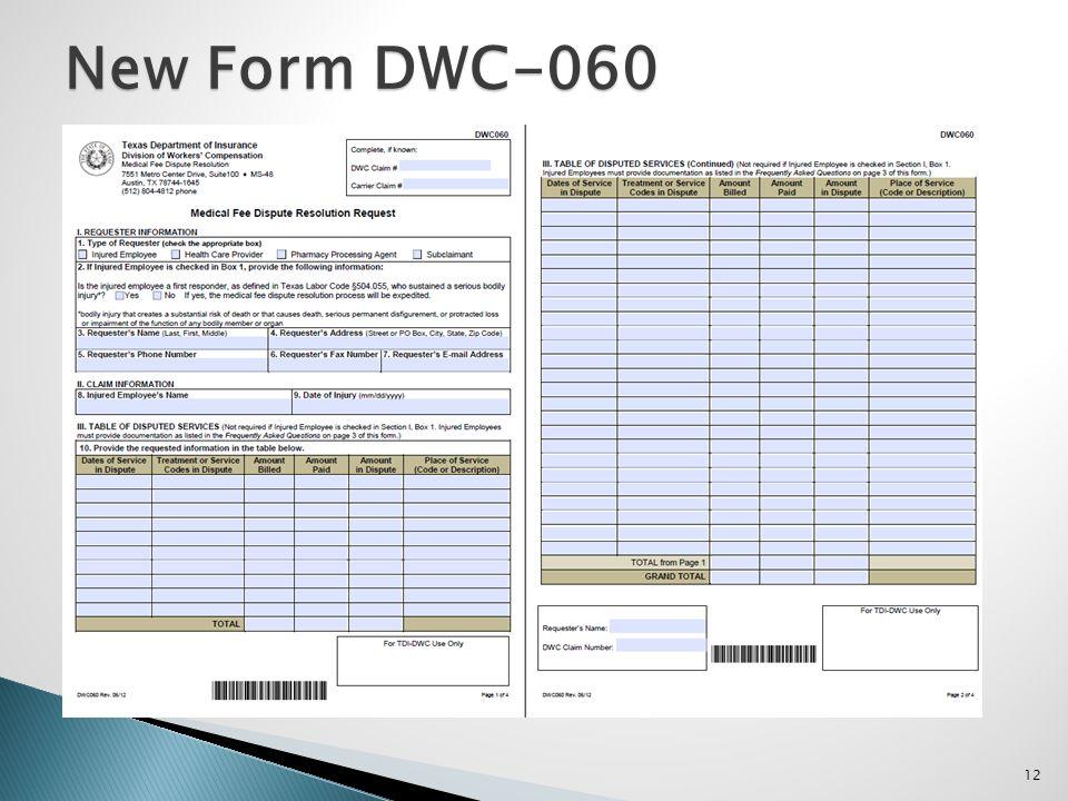 12 New Form DWC-060