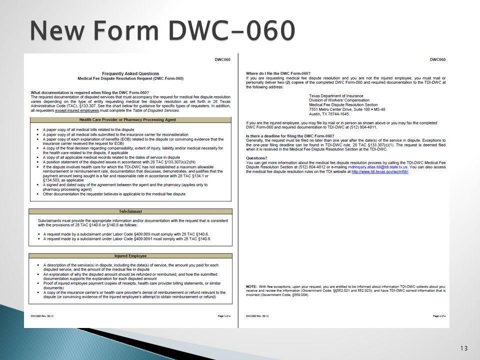 13 New Form DWC-060