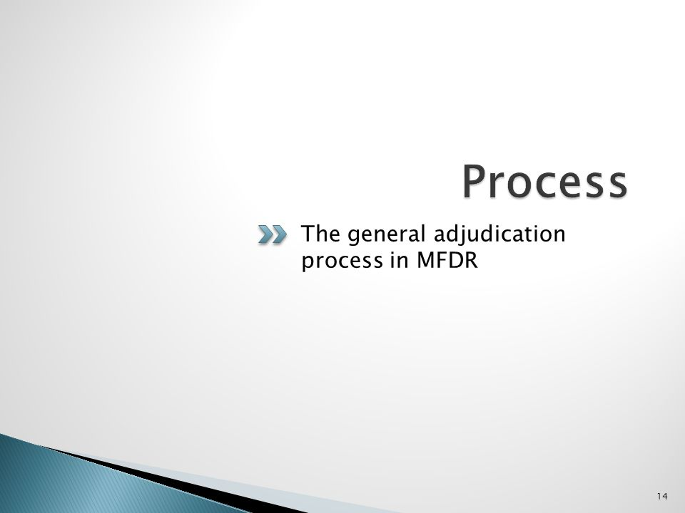 The general adjudication process in MFDR 14