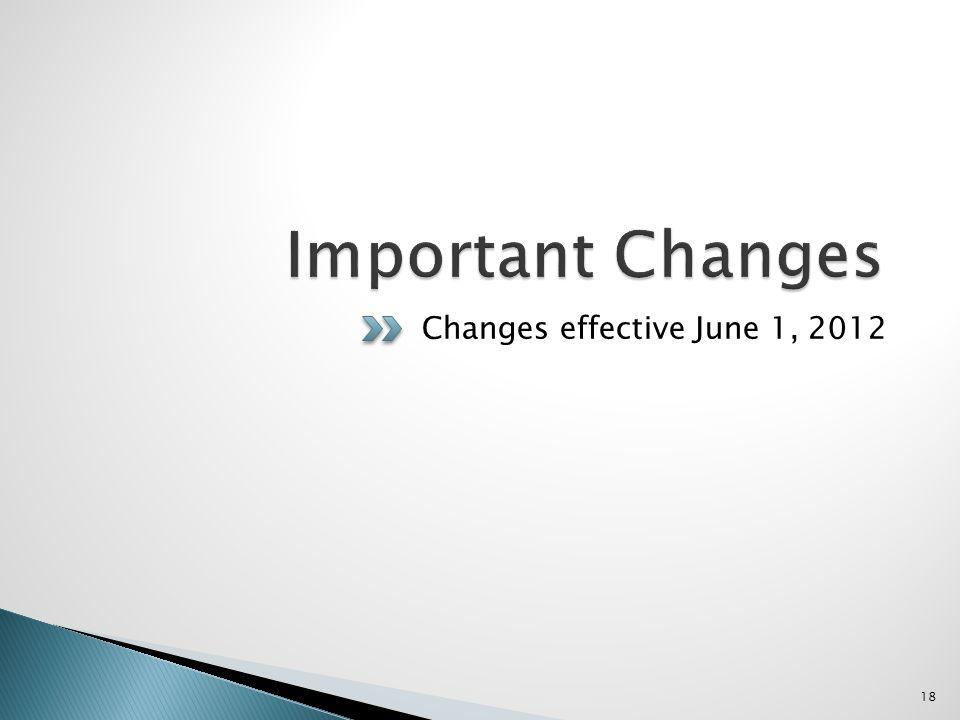 Changes effective June 1, 2012 18