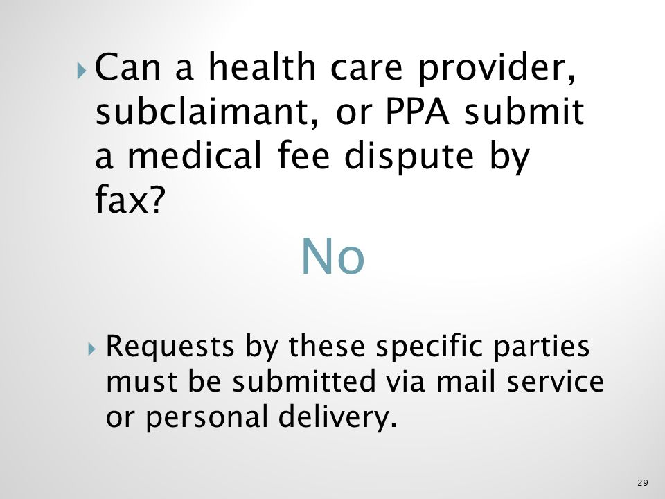 Can a health care provider, subclaimant, or PPA submit a medical fee dispute by fax.