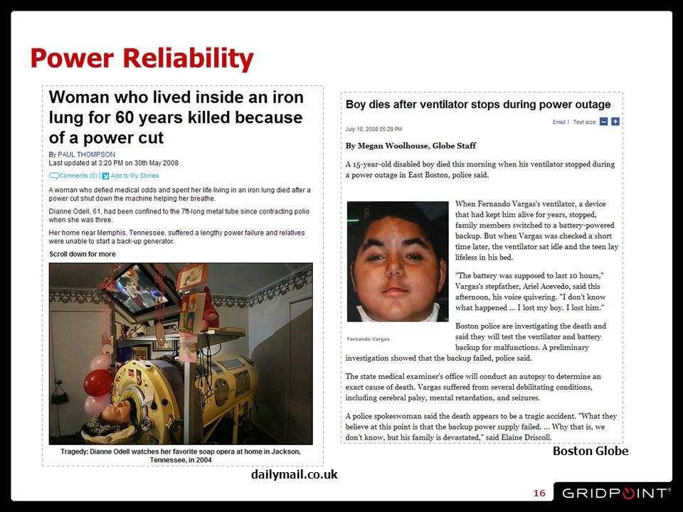 Power Reliability dailymail.co.uk Boston Globe 16